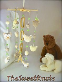 mobile newborn crochet   owl swarovski and by TheSweetKnots, $130.00
