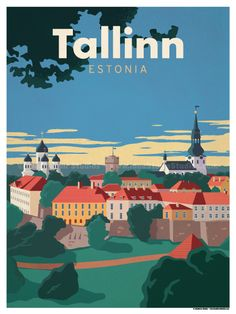 Image of Tallinn Poster Venice Travel, Rome Travel, Spain Travel, London Poster, Berlin City, National Park Posters, Beach Posters, Voyage Europe, Vintage Travel Posters