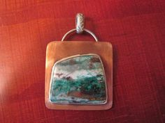 Unique Sterling and Copper Chrysocolla Pendant by Sara Ann Stones, $75.00