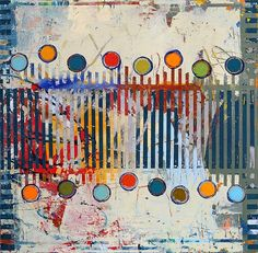 """Fibonacci 245"" by Jylian Gustlin  36 x 36       Mixed Media"