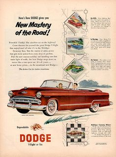 "1953 Dodge Automobile V-Eight or Six Original Car and Truck Print Ad -An original vintage 1953 advertisement, not a reproduction -Measures approximately 10"" x 13"" to 11"" x 14"" -Ready for matting and f"