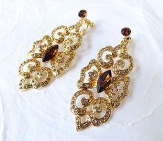 Brown Gatsby Art Deco Clip On Earring Swarovski Crystal Chandelier -  Rhinestone Prom Jewelry - Clipon Victorian Wedding