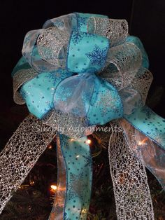 Turquoise Silver Snowflakes Christmas Bow,  Frozen Tree Topper Bow, SimplyAdornments Bow