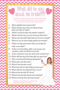 Gold bridal shower game, What did he say about his Bride. Also fun Couple's Shower Game or Engagement Party Game. Pink chevron with gold accent and confused bride. Bride Shower Games, Couple Shower Games, Engagement Party Games, Gold Shower, Gold Bridal Showers, Matching Gifts, Divergent, Confused, Fanfiction