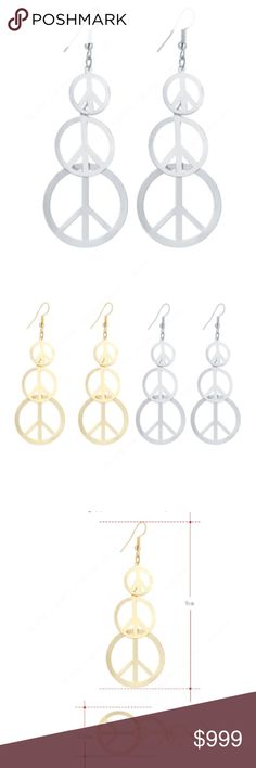 "COMING SOON!! ""LIKE"" TO BE NOTIFIED!! COMING SOON!! ""LIKE"" TO BE NOTIFIED!!  Brand new in original packaging.  Make love not war!! Silver peace sign drop dangle earrings. 3 anti-war hollow round peace signs from small-med-large. Hook backings. Length: 3.54"". Made of silver color stainless steel, nickel & lead free. Also available in 18k gold! Jewelry Earrings"