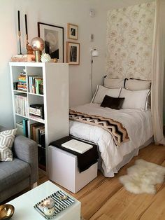 Master Bedroom Design Ideas for Small Rooms . 31 Luxury Master Bedroom Design Ideas for Small Rooms . Small Space Living, Living Spaces, Small Space Bedroom, Small Bedroom Decor On A Budget, Bed In Living Room, Small Bedroom With Couch, Small Bedroom Hacks, Narrow Bedroom, Couches In Bedroom