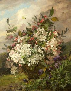 William Jabez Muckley (1829-1905) - Apple Blossom, oil on canvas, 60 x 49.5cm.