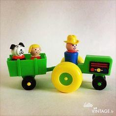 Tracteur vert vintage Fisher Price - Hello Vintage shop