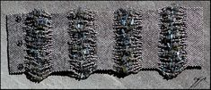 "(2005) 9""x4.5"" delica beads (satin palladium, iris transparent beige-blue) Labradorite chips, nylon thread, snap fasteners. The bracelet is made up of five Peyote stitch panels turned 90 degrees an..."