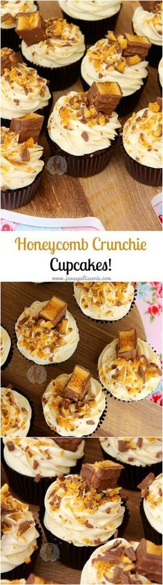 :heart: Chocolate Cupcakes, Honey Buttercream Frosting, and Cadbury's Crunchie Bars… Hello Honeycomb Crunchie Cupcakes! Come and see our new website at bakedcomfortfood. Cupcake Recipes, Baking Recipes, Cupcake Cakes, Dessert Recipes, Biscuit Cupcakes, Cupcake Icing, Cupcake Ideas, Crunchie Cupcakes, Chocolate Cupcakes