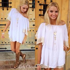 """https://instagram.com/ladycherokeeboutique Good Vibes CREAM WITH CROCHET SLEEVE TUNIC ✨Chandler is wearing a Small✨ ✨ This top runs very loose fitting✨ Price: $34.00, Free Shipping Qty: 2 small(6/8), 2 medium(8/10), 2 large(10/12) Please comment """"Sold, size, and quantity needed, as well as your email to purchase. Also, you must let us know what state you live in, before we can invoice you!"""