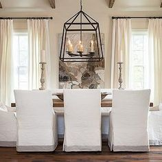 Slipcovered Dining Chairs, Transitional, dining room, Bay Hill Design