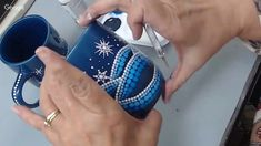 Hi All, join me as we paint this Frosty Winter Snowflake Mug. Tools/Materials: Mug (I got mine from the Dollar Tree, any color you like) Deco Art Gloss Ename. Mug Art, Snowflakes, Mandala, Christmas Decorations, Dots, Live, Winter, Painting, Color