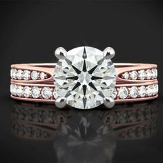 IGI Certified 0.85 Ct Round Diamond Wedding Band Set Solid 18K Rose Gold Ring 6 #Handmade