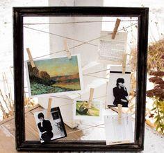 Einen Rahmen selber machen mit Garn zum Aufhängen der Fotos