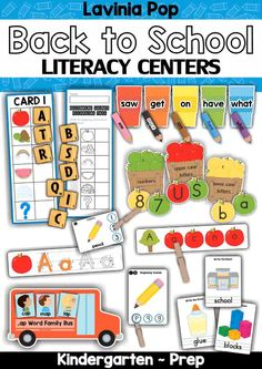 Back to School Literacy Centers for Kindergarten *** Please NOTE: This unit is included in my Back to School MEGA BUNDLE. Do not purchase this packet if you already own the bundle! Preschool Centers, Preschool Curriculum, Math Centers, Preschool Activities, Homeschooling, Apple Activities, Reading Activities, Kindergarten Centers, Kindergarten Classroom