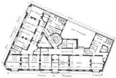 Hotel Floor Plan, House Floor Plans, Paris, European Apartment, Architectural Floor Plans, Apartment Floor Plans, Commercial Architecture, Large Homes, Houses