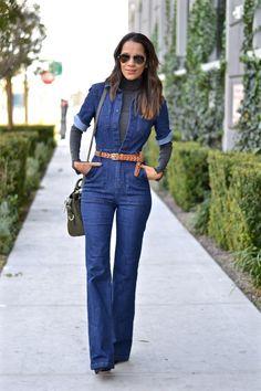 denim jumpsuit with leather belt