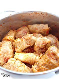 sarmale cu varza dulce,bulion  good recipe -- similar to how I make them