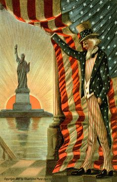 Uncle Sam and the Statue of Liberty ~ Vintage postcard