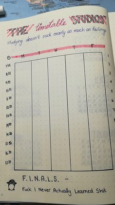 Timetable for a bullet journal
