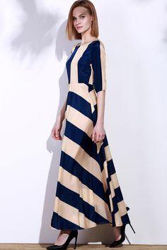 Striped Scoop Neck 3/4 Sleeve Maxi Dress - DEEP BLUE XL