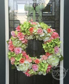 Coral Hydrangea věnec, Pivoňka věnec, Ranunculus věnec Coral Svatební Color dekorace, léto věnec, Shabby Chic věnec, Cottage Chic Decor