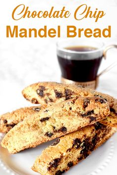 Chocolate chip mandel bread is a very easy recipe to make. These Jewish cookies are similar to biscatti but are a little softer and dairy free. Jewish Cookies, Dairy Free Recipes Easy, Almond Bread, Kosher Recipes, Almond Cookies, Food To Make, Easy Meals, Chips, Mandel Bread Recipe