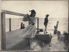 Maud Sambourne lost in thought, looking out to sea c.1888 (photo taken by her Father, Linley Sambourne)