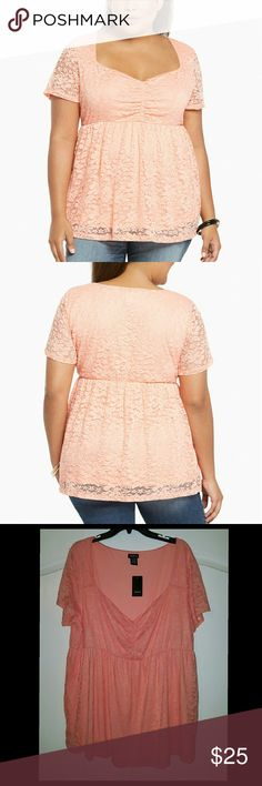 Torrid Cinch Front Lace Babydoll Top Shirt 3X 4X 5 -New with Tags -Torrid -The stock image of the photo is lighter than the actual color. See images 3 and 4. Color is between orange and pink. Torrid Tops Blouses