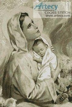 Mary and Baby Jesus Sepia cross stitch pattern.