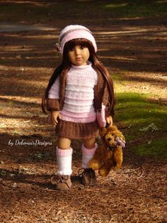 Hand-knitted tunic sweater-dress set for Kidz N' Cats dolls by Debonair Designs on eBay