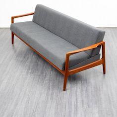Velvet-Point - sitzmöbel_sofas 60er Jahre Dreisitzer-Couch, Teak (Nr. 6673) - Karlsruhe
