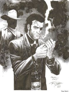 Jesse Custer from PREACHER by Tony Moore. GREAT original sketch.