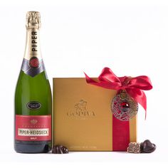 Champagne & Holiday 19-pc Godiva Chocolates Gift Set - a favorite. Delicious Champagne, festive chocolates. A pretty bow :)
