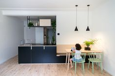 small kitchen design black plywood beech