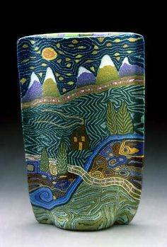 Jane Peiser ( Glass Artist ) – Night/Sky/Land - Landscape Vase