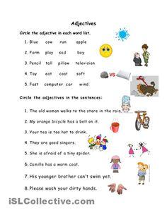 Adjective Worksheets For Kid Writing Sentences Worksheets, Worksheets For Class 1, Adjectives Activities, Adjective Worksheet, Kindergarten Worksheets, Learning English For Kids, Teaching English Grammar, English Grammar Worksheets, Grammar Lessons
