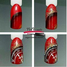 New years nail art, tick tock