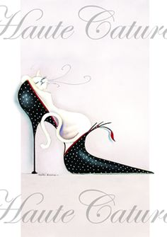 Dotty loves Shoes, © Marilyn Robertson, part of her Catitudes range