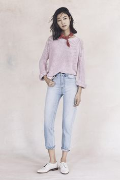 your sneak peek at madewell's spring 2016 collection: light pink sweater, light wash jeans, red bandana + white oxfords. pre-order your favorites now by calling 866-544-1937 (434-385-5792 for our international friends) or email shopfirst@madewell.com to get first dibs  #everydaymadewell