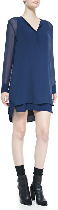 Vince Long-Sleeve Double-Layer Shirttail Dress, Officer on shopstyle.com
