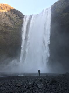 Bottom of a waterfall in Iceland