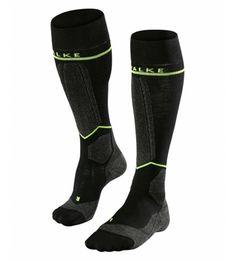 Merino Wool Blend Graduated Compression Skiing Socks. Falke Men's Energising Ski Socks for effortless skiing with graduated compression to reduce fatigue and improve regeneration.