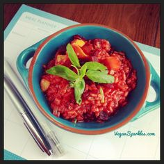 Beetroot, Basil & Sweet Potato Risotto. Don't believe the rumours.  Risotto is not difficult or scary to make, and if you love root vegetables like I do, you'll love my lovebug's recipe.  The earthiness of the beets combined with the freshness of the basil and the sweetness of the potato make for a killer combo and an impressive dish any day of the week.