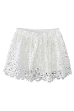 ROMWE | ROMWE Pteris Flower Crochet White Culottes, The Latest Street Fashion