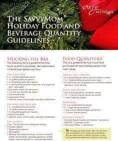 The SavvyMom #Holiday Food and Beverage Quantity Guidelines