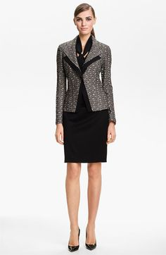 St. John Collection Toscana Tweed Knit Suit in caviar/limestone