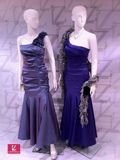 CONJUNTO IZQUIERDA:  Vestido Modelo 1cl00571 /  Zapatos Plata Modelo 2za05639.    CONJUNTO DERECHA:  Vestido Modelo 1cl01033 /  Bolso Negro Modelo 2bo07115 /  Chalina Modelo 2ch01273.