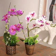 "9.8""L+11.8""H+Vintage+Phalaenopsis+in+Bronze+Plastic+Rattan+Pot+–+AUD+$+14.29"